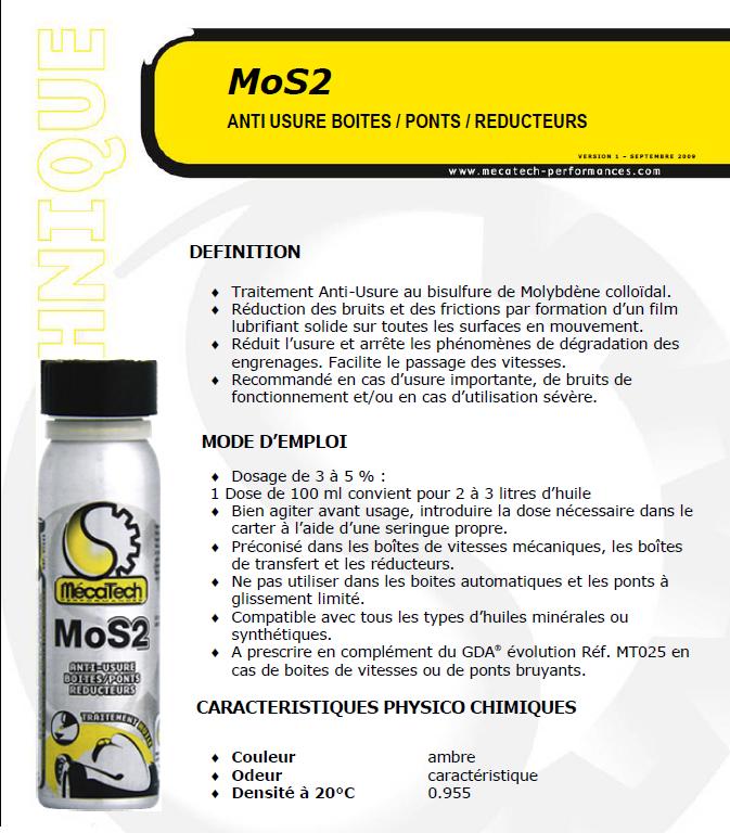 Traitement huile anti usure boite pont reducteur mos2 - Glissement d un solide sur un plan incline ...