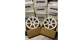 "SET 2 JANTES T7R 19"" ET30 5X120 BLANC WORK WHEELSSET 2 JANTES T7R 19""x8.5 ET30 5X120 WHITE WORK WHEELS"