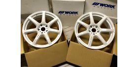 "SET 2 JANTES T7R 18"" ET38 5X114 BLANC WORK WHEELS"