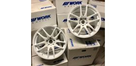 "SET 2 JANTES CR KIWAMI 18""x9.5"" ET0 5X114 BLANC (WHT) WORK WHEELS"