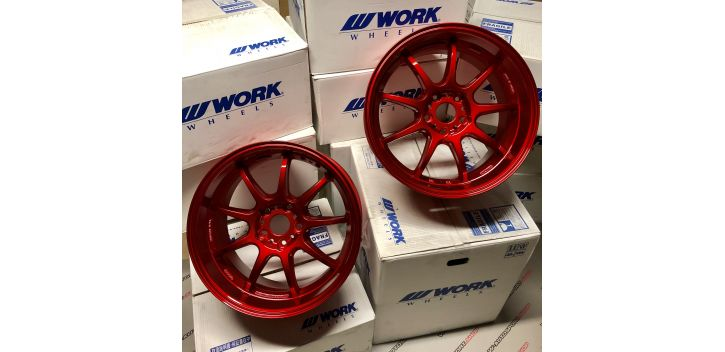 "SET 2 JANTES D9R 18x9.5"" ET38 5X114 WORK WHEELS"